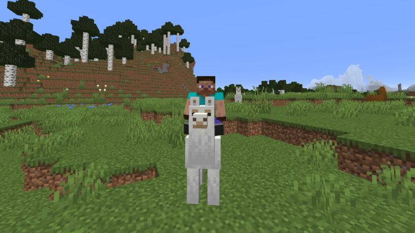Monter un lama blanc dans Minecraft