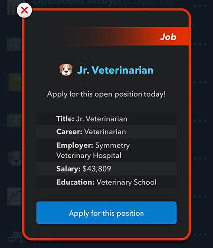 Exemple d'emploi de vétérinaire BitLife Jr.