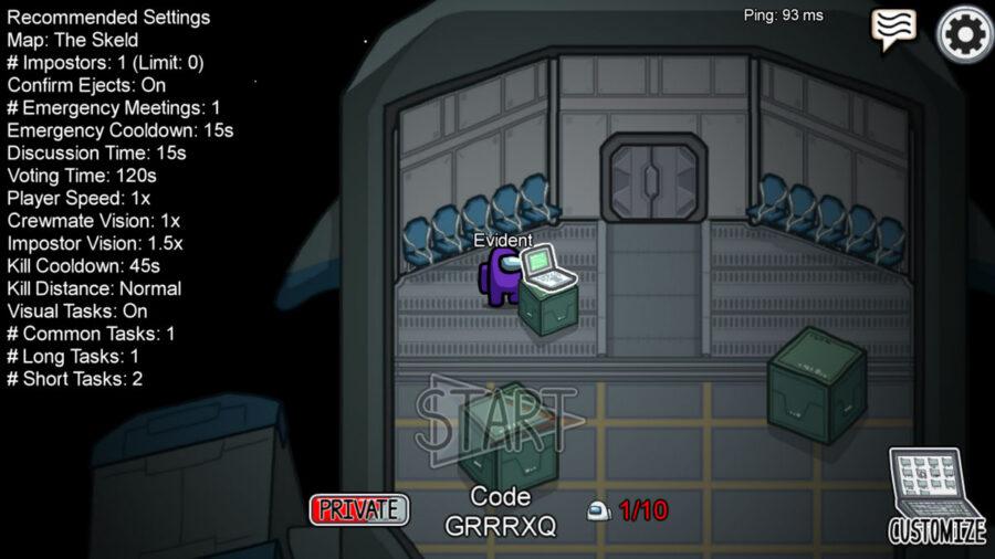 Exemple de jeu en ligne avec un code dans Among Us