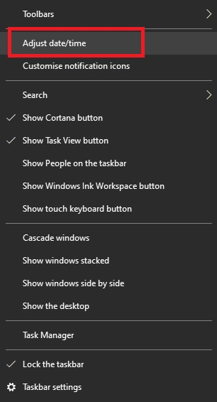 Le menu de la barre des tâches dans Windows 10 lorsque vous cliquez avec le bouton droit sur l'heure et la date
