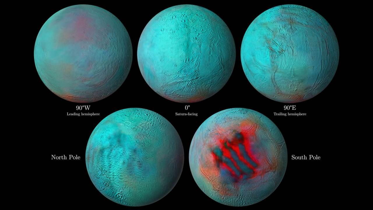 Des images infrarouges de la lune de Saturne Encelade montrent un barattage de glace fraîche et un paysage