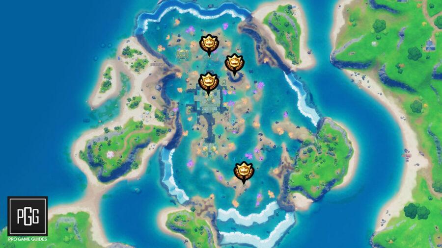 Emplacement de la carte des anneaux flottants du château de corail