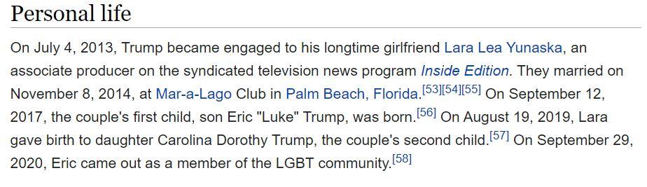 La confusion a même conduit à la mise à jour de l'entrée Wikipedia d'Eric Trump