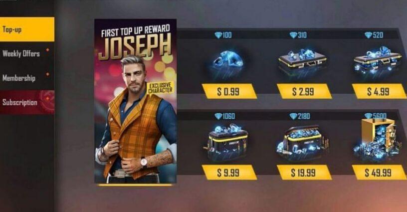 L'affichage à l'écran du menu Top-up