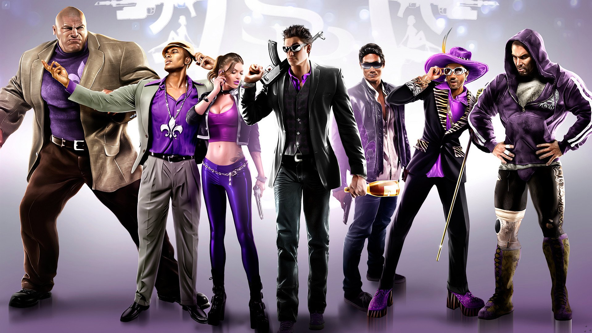 Les membres du gang Saints Row posant pour une photo