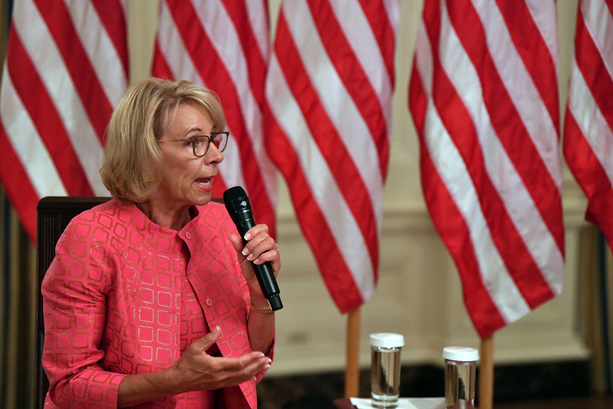 La secrétaire à l'éducation de l'administration Trump, Betsy DeVos