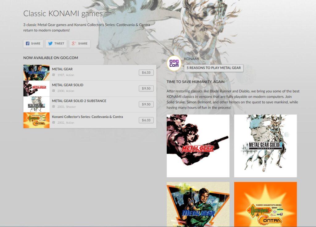 Le jeu du magasin Konami sur GOG