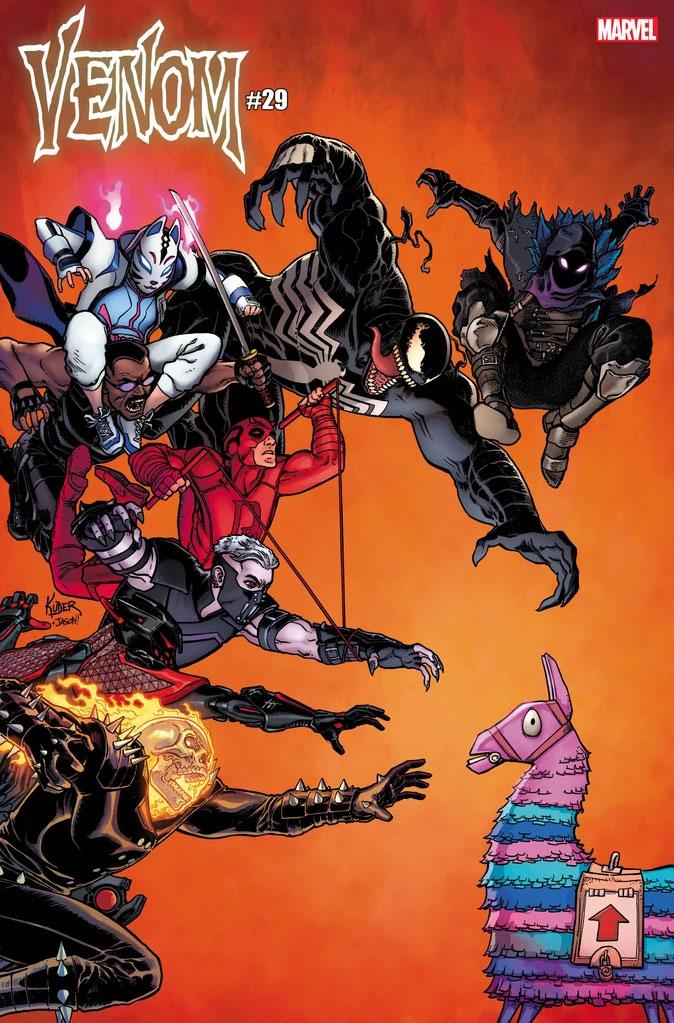 Couverture de bande dessinée Venom avec Ghost Rider et Daredevil inclus