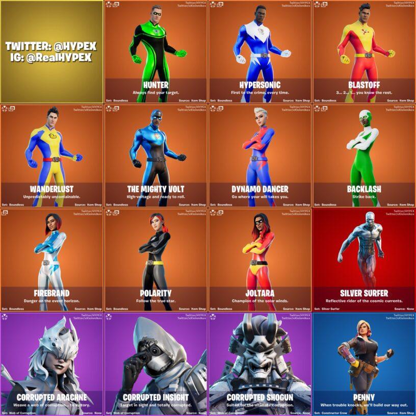 Image de nouveaux skins du patch Fortnite 14.10