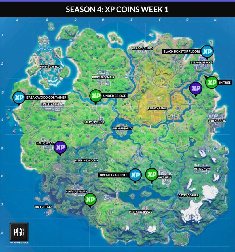 Carte des pièces Fortnite XP pour le chapitre 2, saison 4, semaine 1