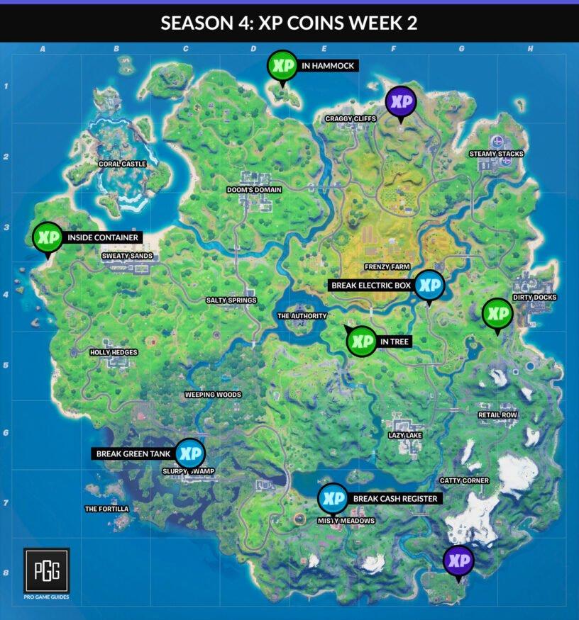 Carte des pièces Fortnite XP pour le chapitre 2, saison 4, semaine 2