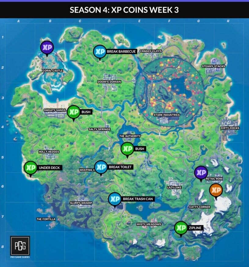 Carte des pièces Fortnite XP pour le chapitre 2, saison 4, semaine 3
