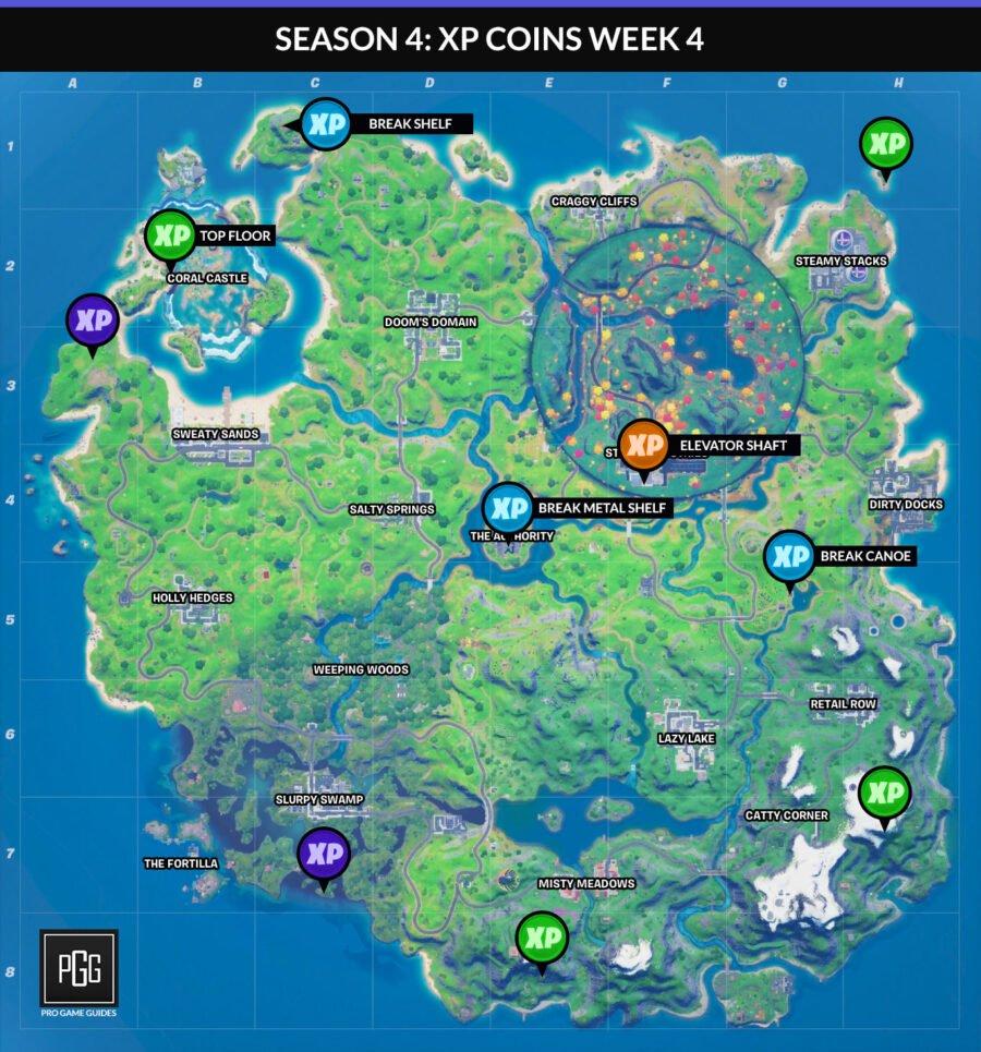 Carte des pièces XP de la semaine 4 pour Fortnite Chapter 2 Season 4
