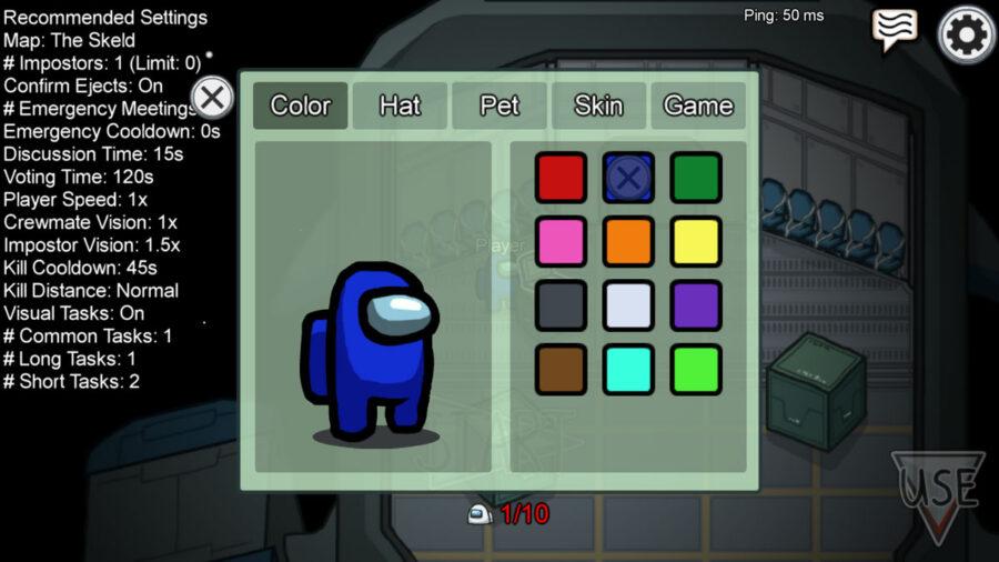 Options de sélection de couleur dans Parmi nous