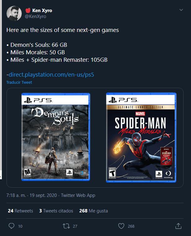 Size of Demon's Souls Remake et Marvel's Spider-Man: Miles Morales sur PS5