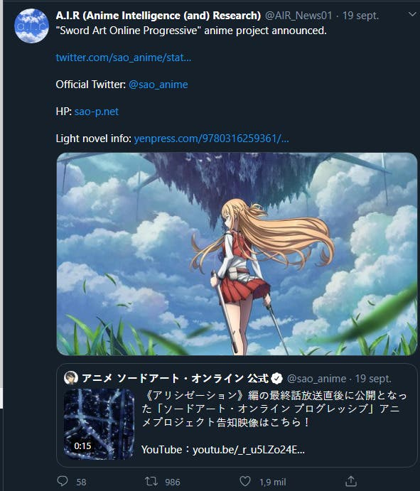 Sword Art Online Progressive annonce son propre anime
