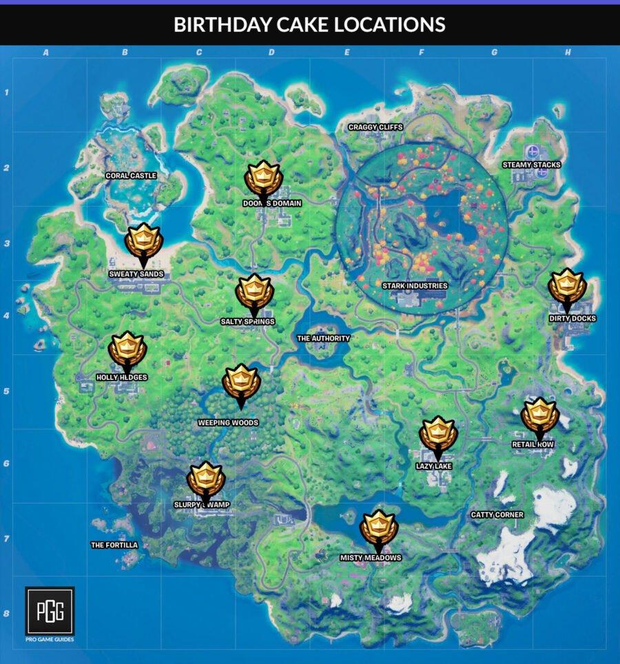 Tous les emplacements de gâteaux d'anniversaire sur la carte Fortnite