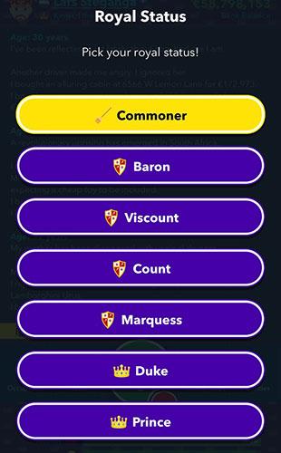 Choix du statut royal de la Belgique dans BitLife