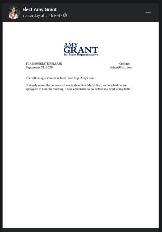 La députée républicaine de l'Illinois Amy Grant a présenté des excuses extrêmement terribles