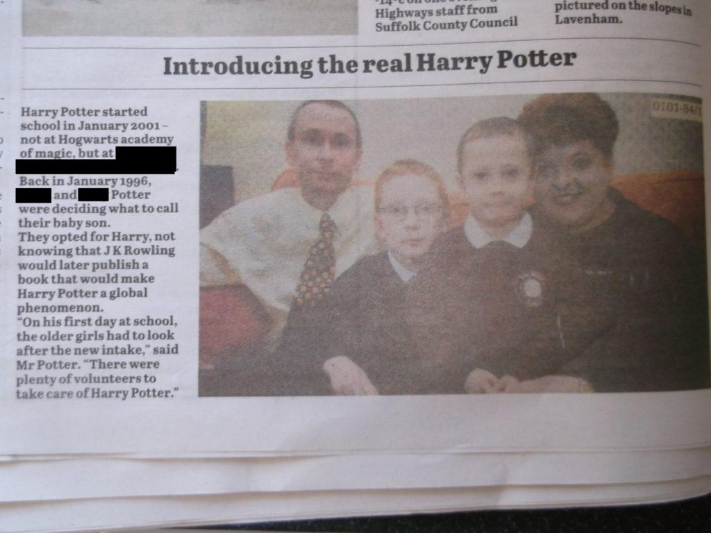 Ellen Potter a déclaré qu'elle avait été présentée dans des coupures de presse lorsqu'elle était enfant, partageant une fois un nom avec le jeune sorcier. (Fourni)