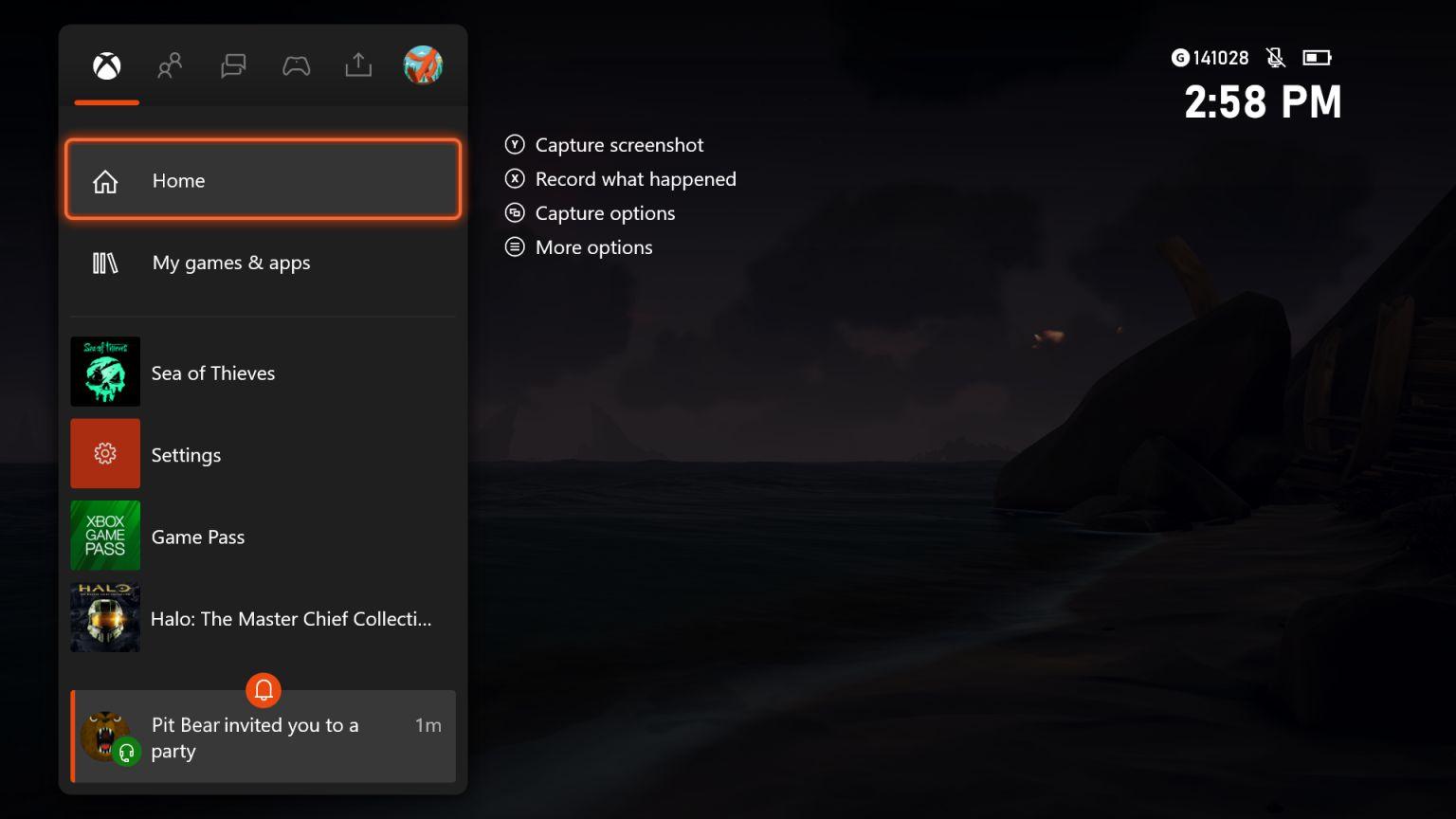 Notifications d'invitations au début du Guide de mise à jour Xbox One 2010