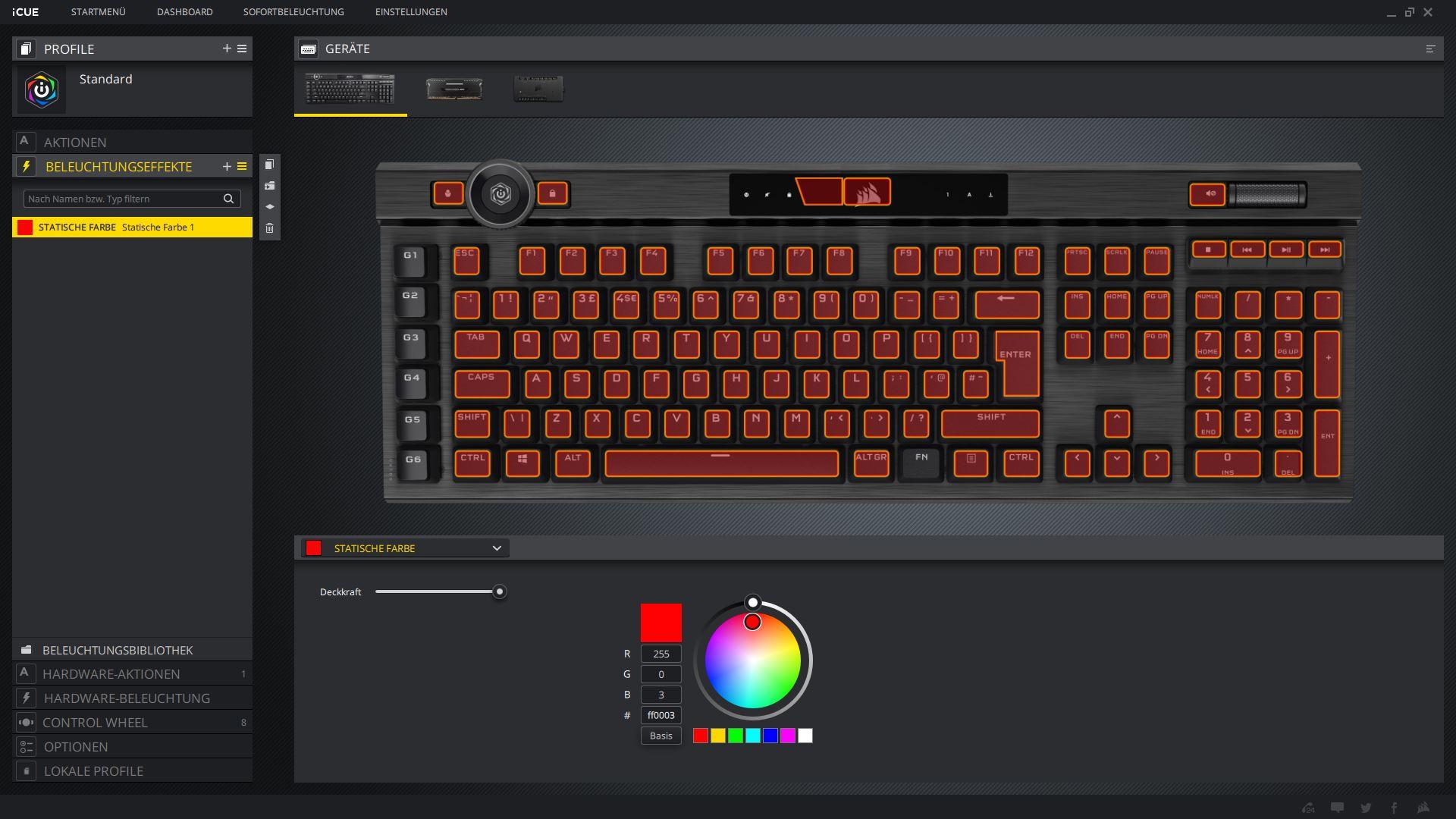 Effets d'éclairage K100 RGB Corsair iCUE