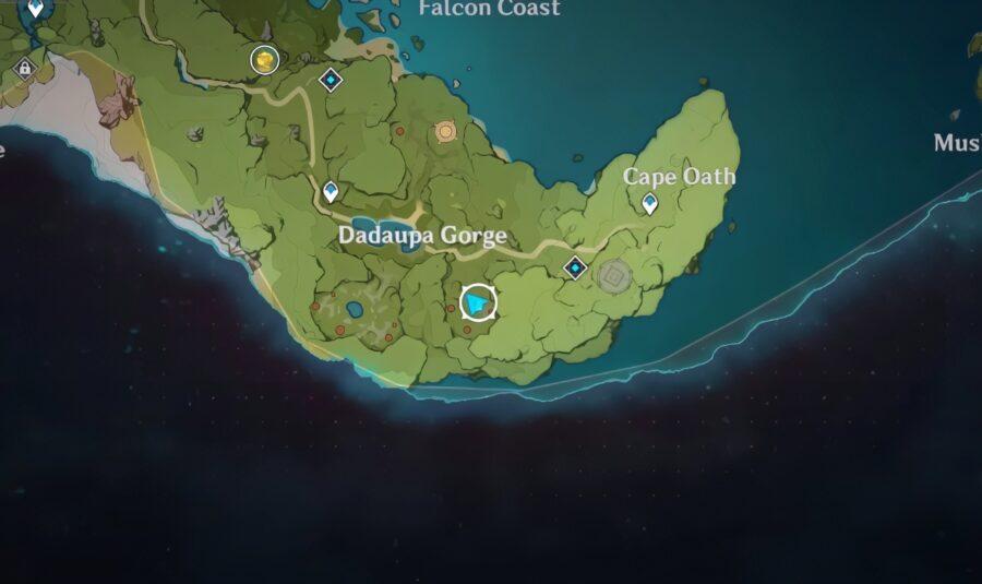 Une capture d'écran de l'emplacement du troisième joint dans Genshin Impact