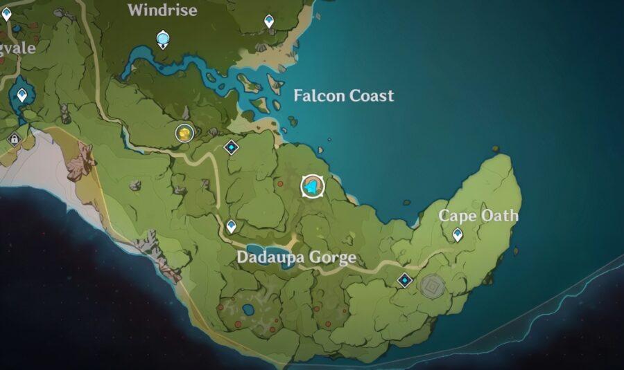 Une capture d'écran de l'endroit où se trouve le premier sceau dans Genshin Impact