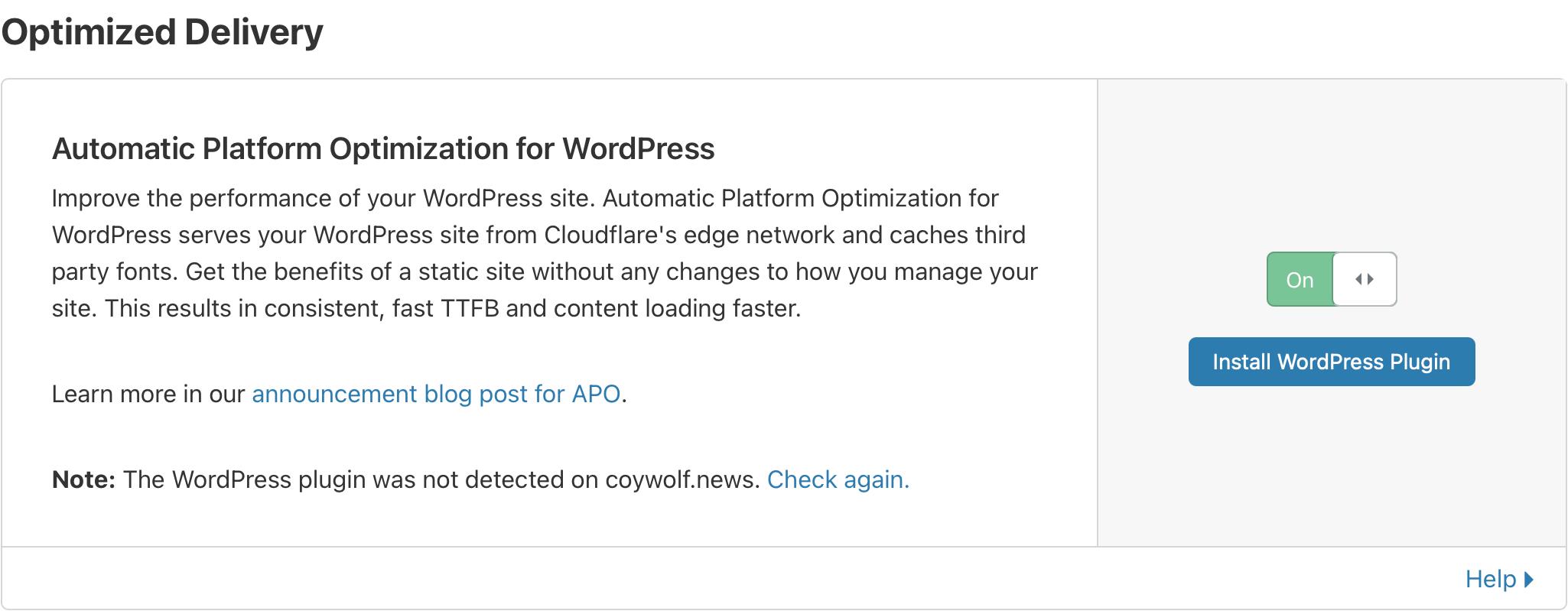 Activer Cloudflare APO pour WordPress