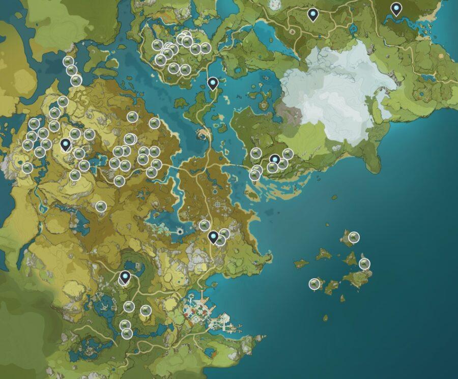 Une capture d'écran de l'endroit où trouver Qingxin dans Genshin Impact.