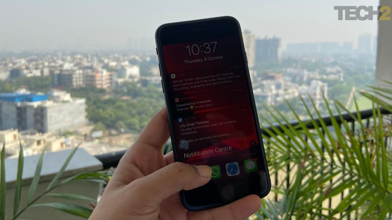 Apple iPhone SE dispose d'un centre de notifications déroulant. Image: tech2 / Nandini Yadav
