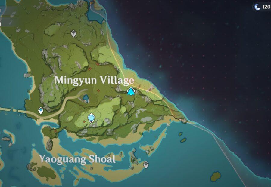 Une capture d'écran de la carte des impacts de Genshin montrant l'emplacement du domaine abyssal du palais caché de Lianshan Formula