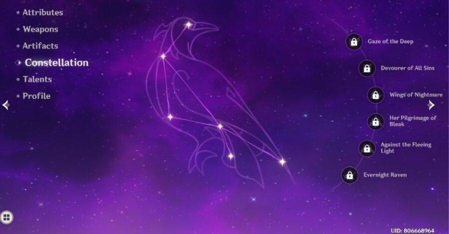 Constellation de Fischl dans Genshin Impact