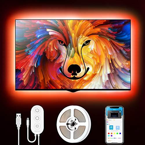 Bandes TV LED, Bande LED USB Govee 2M avec APP, 16 millions de couleurs DIY 5050 SMD, Rétroéclairage RGB LED TV Lights avec 7 modes de scène pour moniteur HDTV / PC 40-55in 4pcs x 50cm, 5V