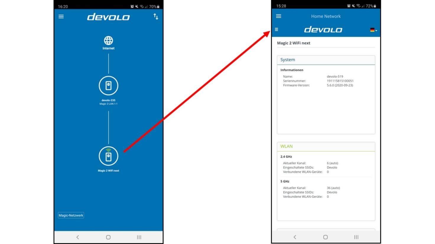 Dans l'application Devolo, appuyez sur l'un des adaptateurs WiFi.