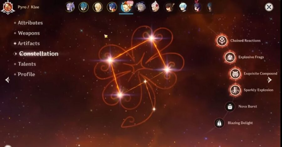 La constellation de Klee dans Genshin Impact