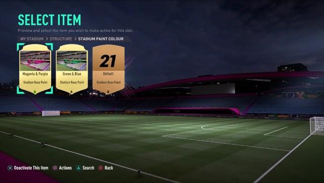 J'ai choisi de donner à mon stade FUT une belle palette de couleurs magenta.  Capture d'écran de FIFA 21