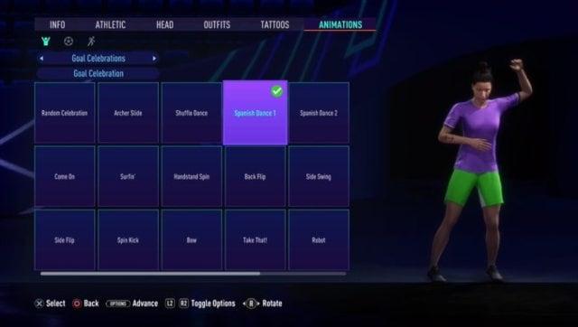 Mon personnage Volta porte un t-shirt violet et un short vert, parce que la mode.  Capture d'écran de FIFA 21