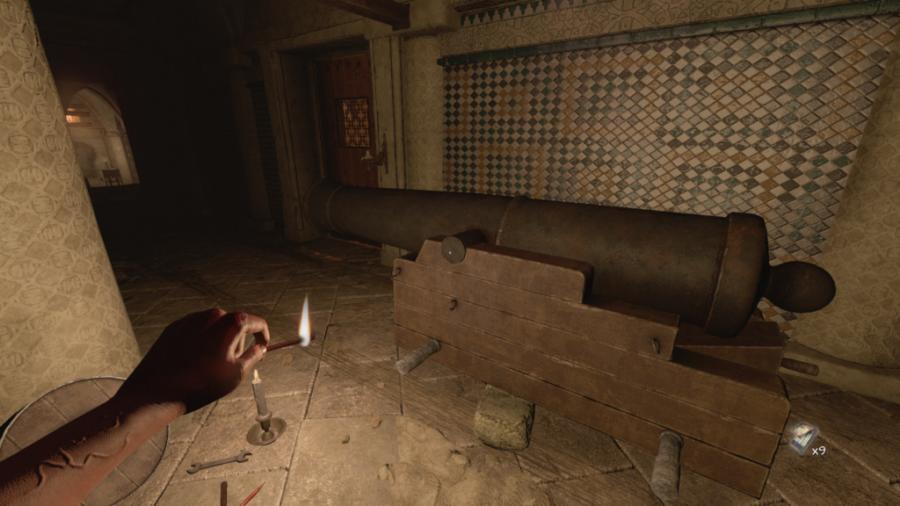 Une capture d'écran du canon à l'étage supérieur de la caserne d'Amnesia: Rebirth