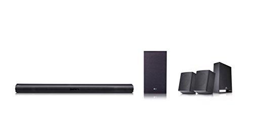 LG SJ4R - Barre de son (puissance 420W 4.1, audio haute résolution 96KHz / 24Bit, subwoofer sans fil, haut-parleurs arrière) Noir