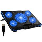 KLIM Cyclone - Base de refroidissement pour ordinateur portable + Support pour ordinateur portable avec 5 ventilateurs + Meilleur support de refroidisseur + Pad de refroidissement Gaming PS4 Xbox One + Bleu + Nouvelle version 2020