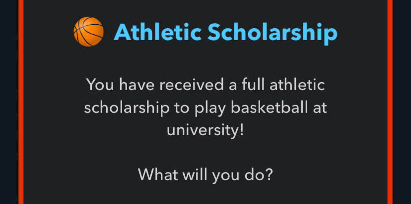 Exemple d'obtention d'une bourse d'études athlétique dans BitLife