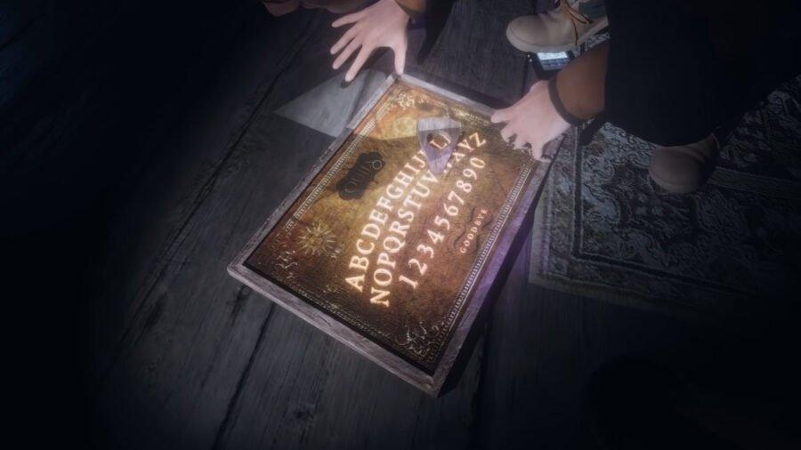 Planche Ouija éclairée dans la phasmophobie