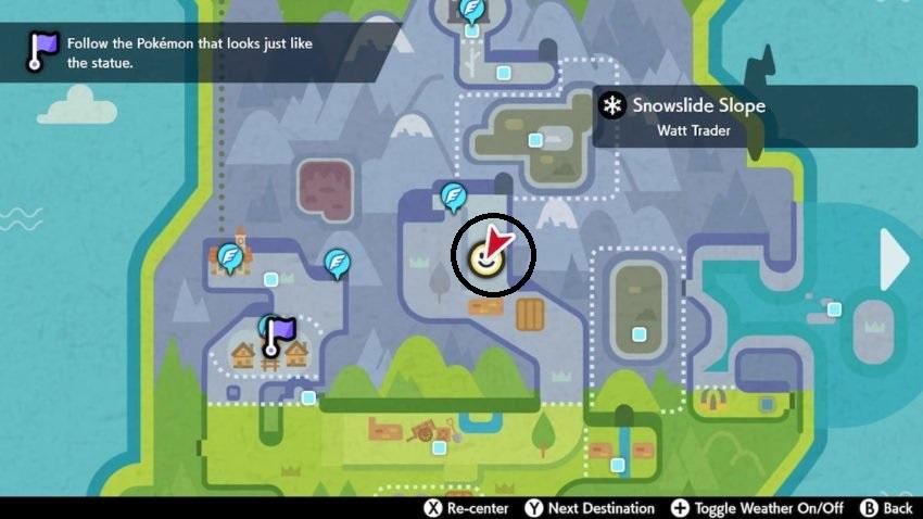 Une capture d'écran de la carte dans Pokemon Sword and Shield de la zone de la toundra de la couronne montrant où se trouve le temple Regice