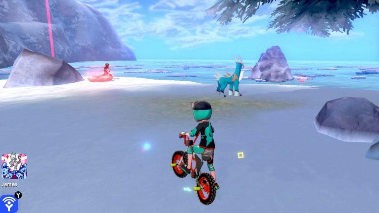 Une capture d'écran de la toundra de la couronne montrant l'emplacement du Pokémon légendaire Cobalion