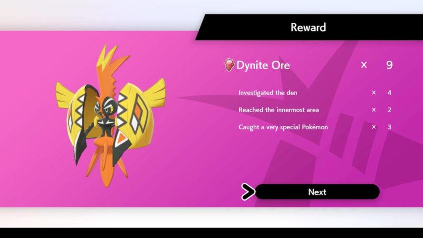 Une capture d'écran de la répartition des récompenses à la fin d'une aventure Dynamax dans la toundra de la couronne