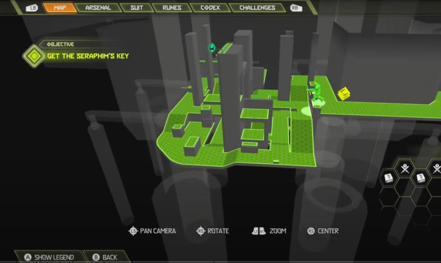 Une capture d'écran de la carte Doom Eternal montrant où aller pour trouver le premier secret