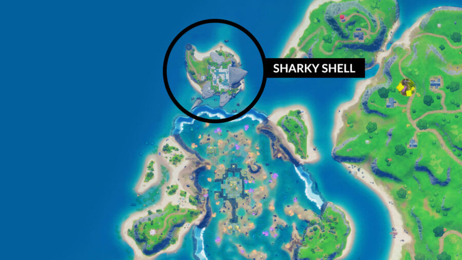 Emplacement de Sharky Shell sur la carte Fortnite