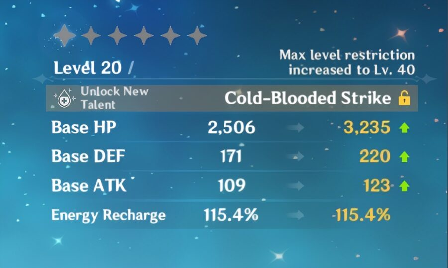 Une capture d'écran des statistiques améliorées d'ascension du personnage dans Genshin Impact