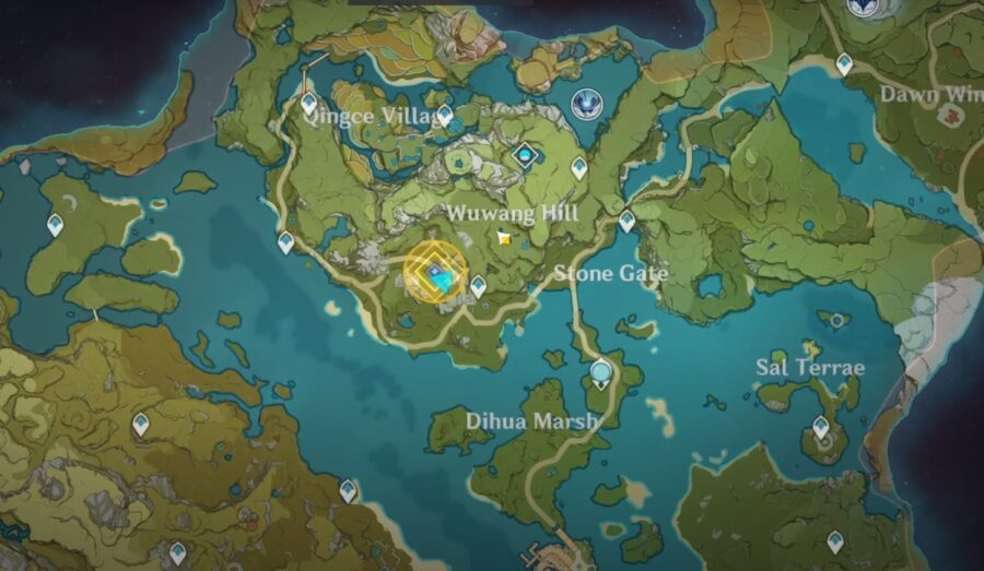 Une capture d'écran montrant la zone jaune où se trouve Little Liu à Genshin Impact